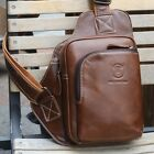 New Men's Genuine Cowhide Leather Backpack Chest Shoulder Bag Satchel Crossbody