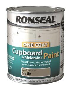Ronseal One Coat Cupboard Melamine Mellow Green Satin 750ml -Fast Dispatch