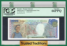 TT PK 22a 1988 RWANDA 5000 FRANCS PCGS 66 PPQ GEM NEW REPLACEMENT NOTE!