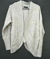 Lane Bryant Women's M Long Sleeve Shawl Waterfall Open Front Knit Cardigan Beige