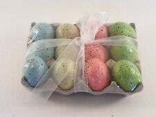 12 Green Blue Yellow Pink Easter Eggs In A Carton Decoration Ornament Spring