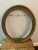 Antique Ornate Wood Carved Frame Picture Photo OVAL Painting Gold Baroque 17x14
