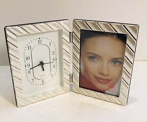 "Silver Plated Clock & 4 x 6"" Photo Frame"