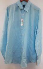 John Ashford Blue Striped Cotton Blend Long Sleeve Dress Shirt LT Big & Tall