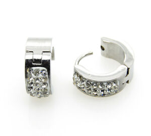 Mens Stainless Steel Hoop Earring Studs Jewelry Silver,Black,Gold 3 Lines 2pcs