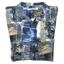 Vtg Hawaiian Shirt Island Republic Button Frnt Blue Palm Tree Plane Mens Sz XXL