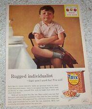 1957 vintage ad -Trix cereal- cute little boy - General Mills print advertising