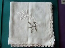 "White Christmas Handkerchief 11.25"" Sq. Embroidered Holly, Gold Thread in Border"