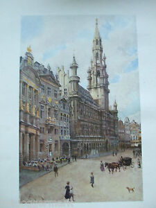 ANTIQUE PRINT DATED 1908 COLOUR BELGIUM PAINTED BY FORESTIER CITY CATHEDRAL ART