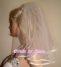 "Wedding Veil Shoulder 2 Tiers 16"" 18"" length Ribbon Edge 27 Colors Available"