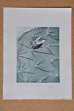 Radierung Originaldruck Kaktus Fliege Feigenkaktus handsigniert Roland Spohn