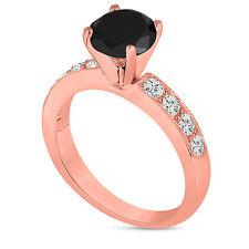 Enhanced Fancy Black Diamond Engagement Ring 14K Rose Gold 1.37ct Handmade Pave