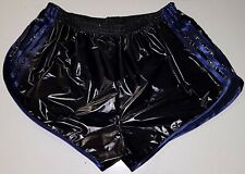 Retro PU Nylon Sprinter Shorts S to 4XL, Black - Royal
