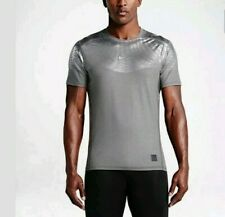 Mens Nike Pro Hypercool Max Fitted SS Shirt Grey Silver Size Medium 744281 091