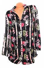 Victoria's Secret Satin Pajama Sleepshirt Stripe Floral Multicolor Size Small