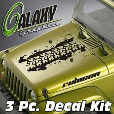 Jeep Wrangler 3 Pc. Blackout Hood Decal Kit #9 - Vinyl Sticker Rubicon TJ LJ JK