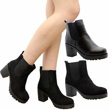 Faux Suede Upper Standard (B) Block Pull On Boots for Women
