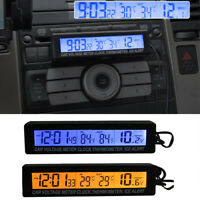 Car 12V LCD Digital Clock In/Outdoor Temperature Thermometer Voltage Meter