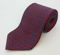 HERMES Tie Dark Blue With Red Chain Knot Pattern Silk Twill Print France 5525 EA