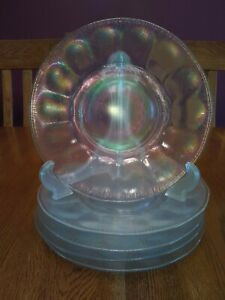"""5 Nice Vintage Imperial Wide Panel White Carnival Stretch Glass 8 1/2"""" Plates"""