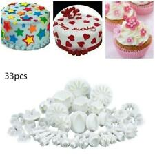 33pc Plunger Cutters Cake Decorating Fondant Cookie Biscuit Mold Flower Set Bake