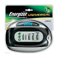 NEW Energizer Universal Rechargeable Battery Charger AA AAA C D 9V Compact Size