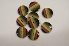 8pc 20mm Green Orange Purple Stripe Coat Knitwear Cardigan Baby Kid Button 3189