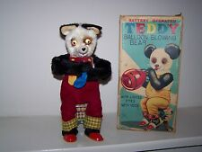 Vintage Battery BALLOON BLOWING BEAR by Alps Eyes Light Feet & Arms Move GREAT!