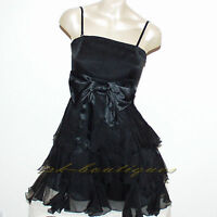 NEW BLACK SATIN COCKTAIL PROM Mini DRESS SIZE 8 10 12 14