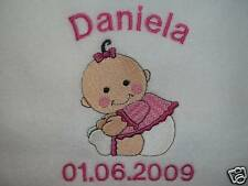 PERSONALISED CUTE BABY GIRL BLANKET,CHOICE OF 6 COLOURS