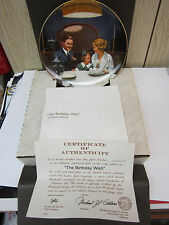 """Knowles Norman Rockwell Plate """"The Birthday Wish"""" Sixth Plate In Series"""