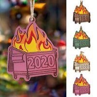 2020 Dumpster Fire Christmas Ornament Tree Hang Wooden Pendants Xmas Party Decor