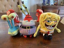 "Spongebob Squarepants Lot Of 3 Plush! Gary Snail Mr. Krabs & SB! 8-9"" Ty Nick"