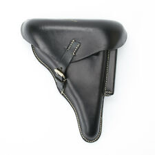 German WWII P08 Luger Black Leather Hardshell Holster, P-08, Pattern 1908