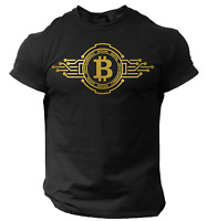 Bitcoin T-Shirt Crypto Currency Traders Gold Coin Black Shirt