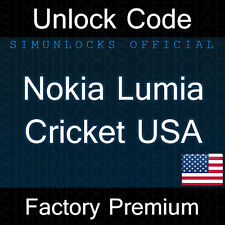 Unlock Code Nokia Lumia 520 530 620 630 635 1320 Cricket Wireless USA