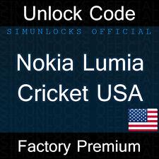 Unlock Code Nokia Lumia 520 530 620 630 635 1320 Cricket Wireless USA
