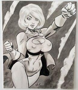 Power Girl! Original Art by Dave Bullock 14 x 17
