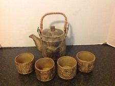 VTG Japan Tea Set Butterflies Teapot Lid 4 Cups Brown/Tan raised pattern