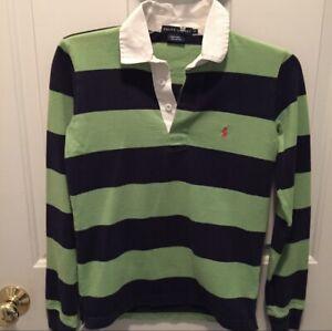 Ralph Lauren XS Rugby Shirt Long Sleeve Green Blue Stripes Polo Logo