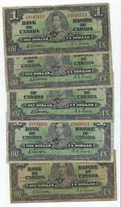 Canada P-58d 1 Dollar 1937 circulated 5 notes