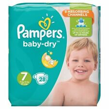 New Pampers Baby-Dry Diapers  28 Ct  Size 7  XXL  Europe