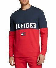 Tommy Hilfiger Mens Sleepwear Red Blue 2xl Crew Colorblock Sweatshirt 167