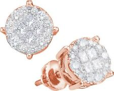 14k Rose Gold Womens Princess Diamond Soleil Cluster Earrings 1/2 Cttw