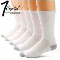 3 6 9 12 Pairs Mens Crew Solid White Long Sports Cotton Socks 9-11 10-13 USA