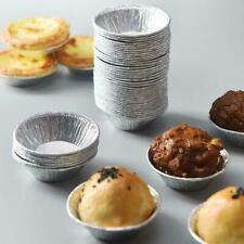100* Disposable Aluminum Foil Tart Pan Mini Pot Pie Tart Bake Tin Plate Mol P0V8