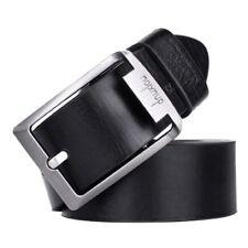 dnuxlou Uomo in pelle Cintura Singolo Prong Affari Fibbia in metallo (Nero) E5L6