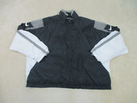 VINTAGE Nike Jacket Adult 2XL XXL Black White Swoosh Full Zip Coat Mens B46*