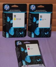 Set of 3 Genuine HP 11 Magenta, Cyan & Yellow Ink Cartridge - New Sealed