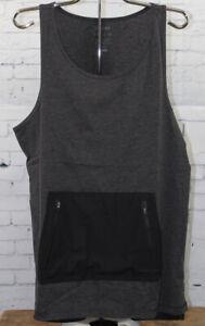 Tavik Men's Roland Tank Sleeveless Shirt Medium Heather Jet Black New